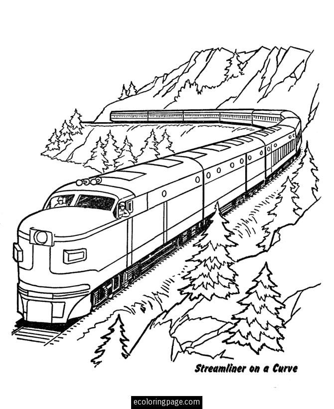 Train Through Mountains Printable Coloring Page Train Coloring