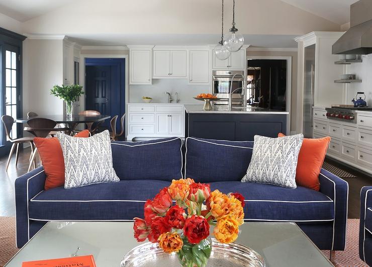 Blue Linen Sofa With Orange Pillows Contemporary Living Room Decoratewithblueandorange Decor Living Room Orange Living Room Grey Burnt Orange Living Room
