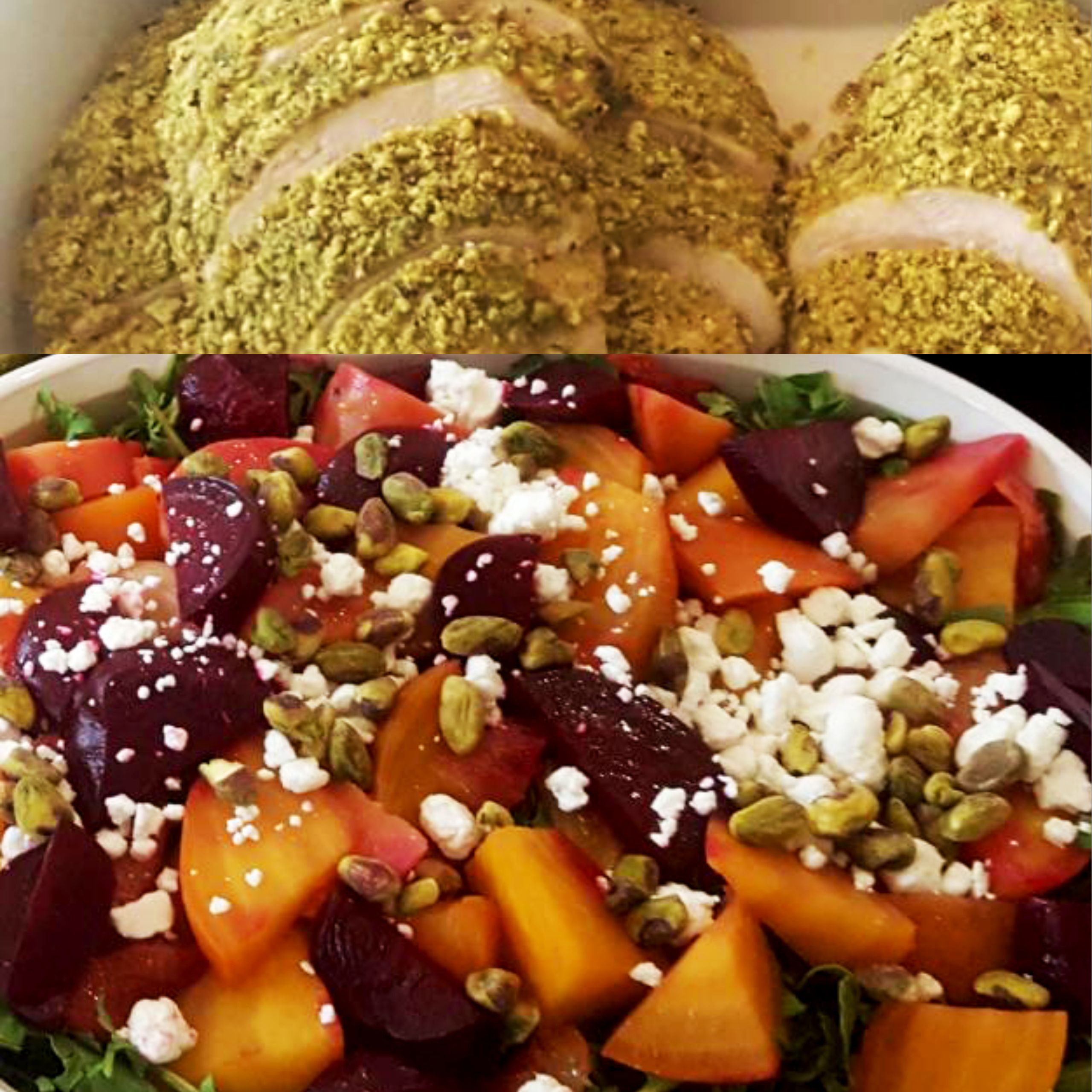 Hello Fall!! Pistachio crusted chicken and a beet