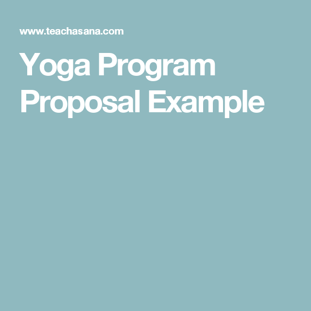 Yoga Program Proposal Example  YogaPro    Proposal
