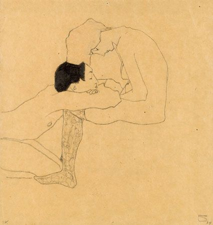 Lovers - Egon Schiele 1909 Austrian 1890-1918 pencil and red crayon on paper 31.5 x 29.5 cm