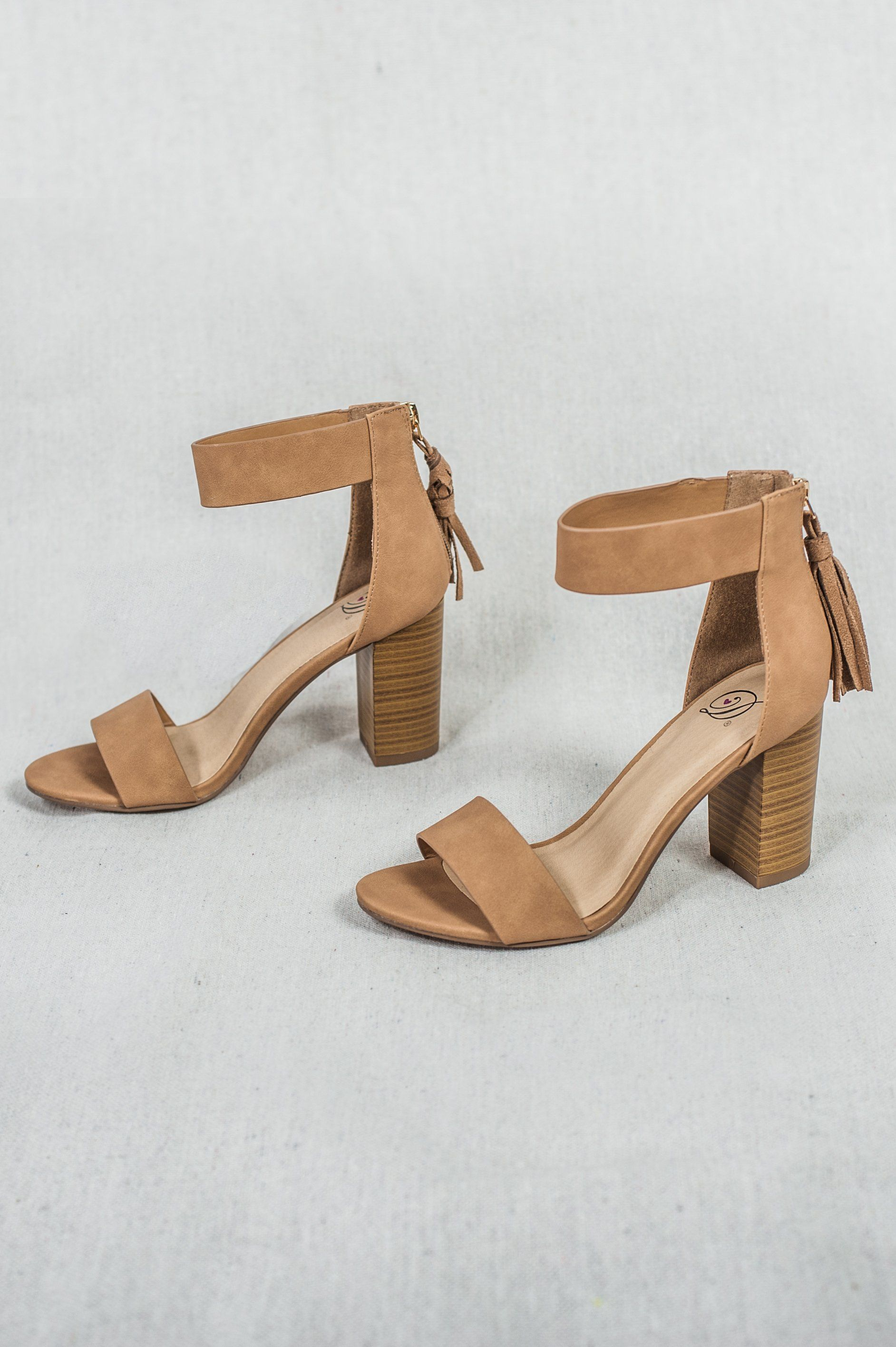 ffd4c4d17df Women s Tan Open Toe Ankle Strap Tassel Sandals
