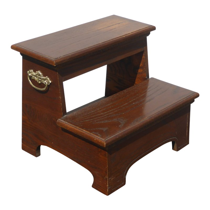 Vintage French Country Wood Two Step Bed Side Step Stool Bedroom
