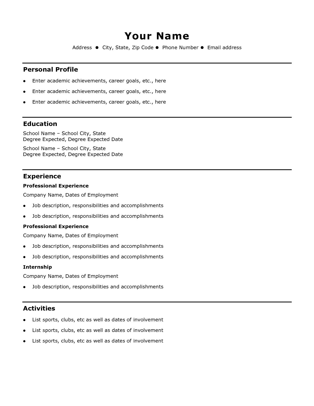 Resume For Job Meaning