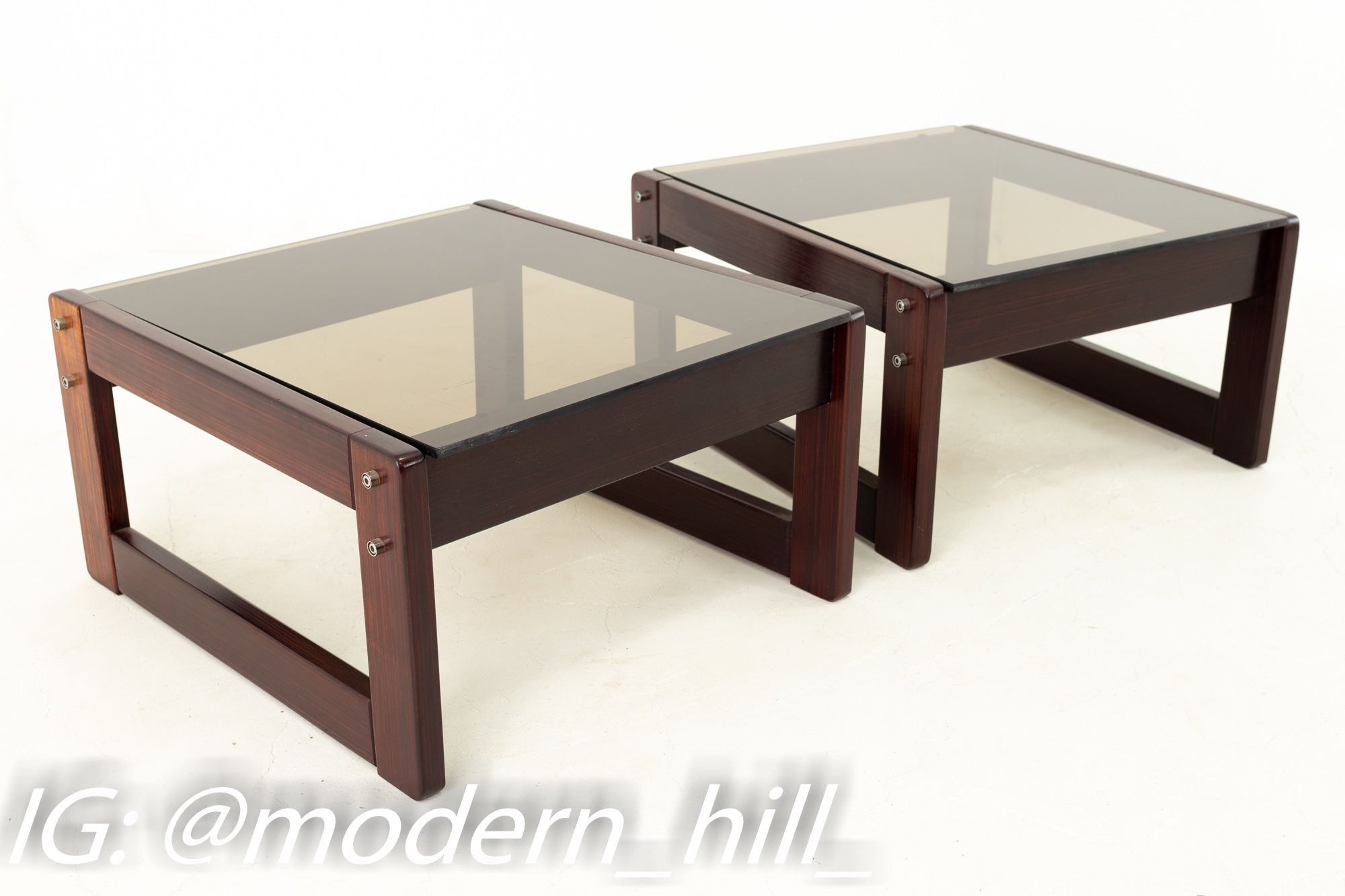 Percival Lafer Brazilian Mid Century Rosewood And Smoked Glass Side End Tables Pair Side And End Tables End Tables Smoked Glass [ 1333 x 2000 Pixel ]