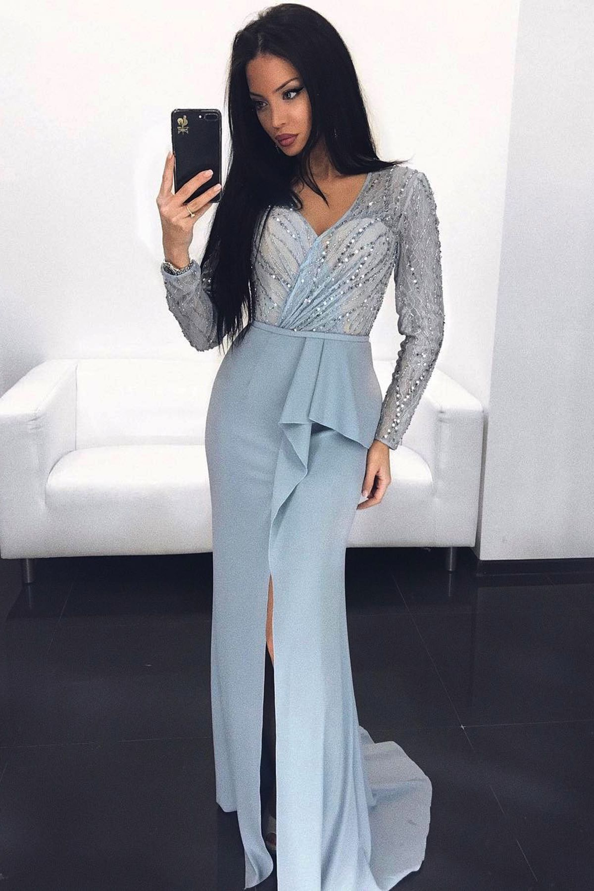 Light blue long sleeves sequins and beading slit prom dress fashion