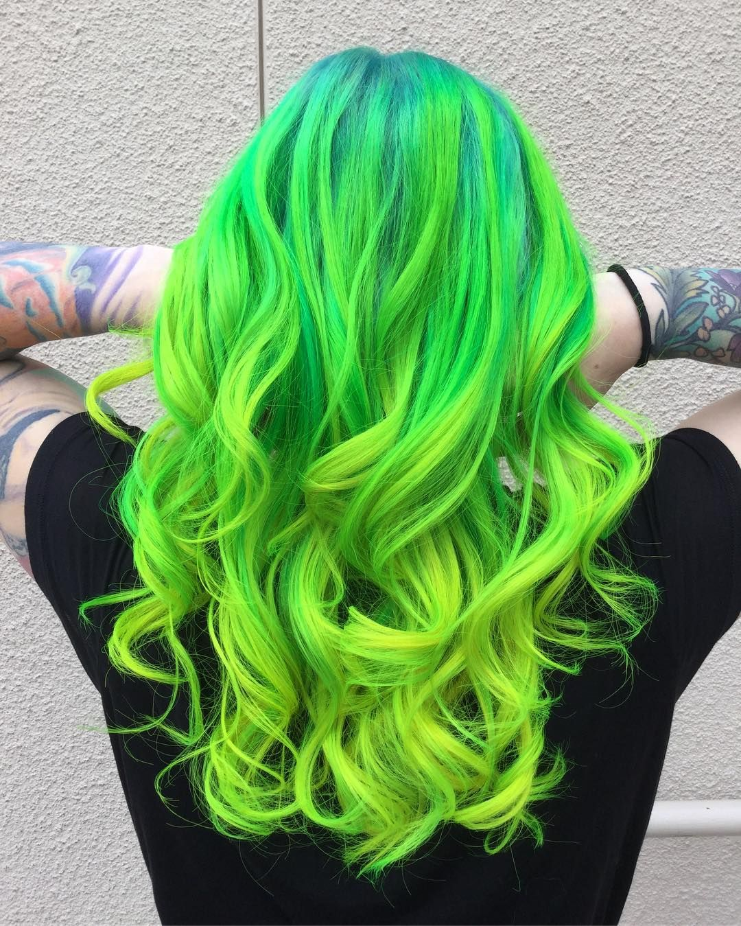 Neon Green And Turquoise Hair Color Using Pravana Neons