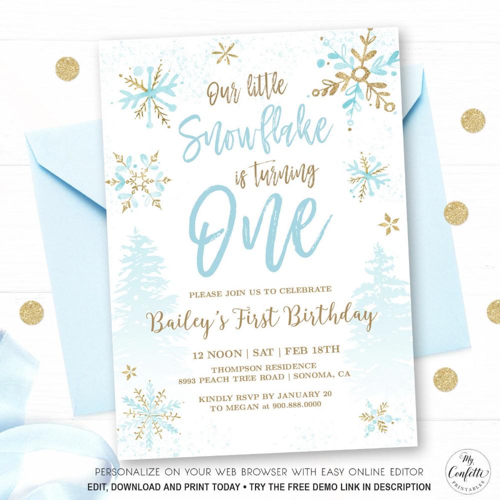 snowflake birthday invitation printable