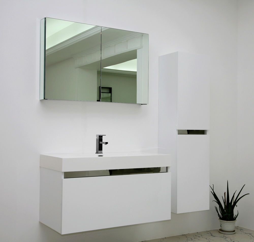 Bathroom Mirror Unit white gloss modern vanity unit wall hung contemporary mdf mirror