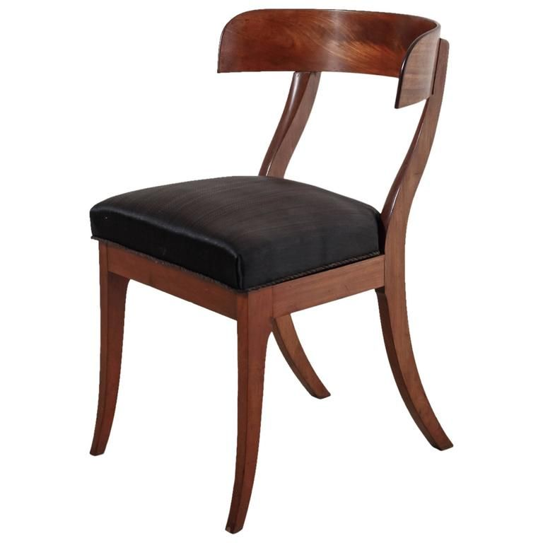 Superieur Danish Mahogany Klismos Chair With Horsehair Seat, 19th Century