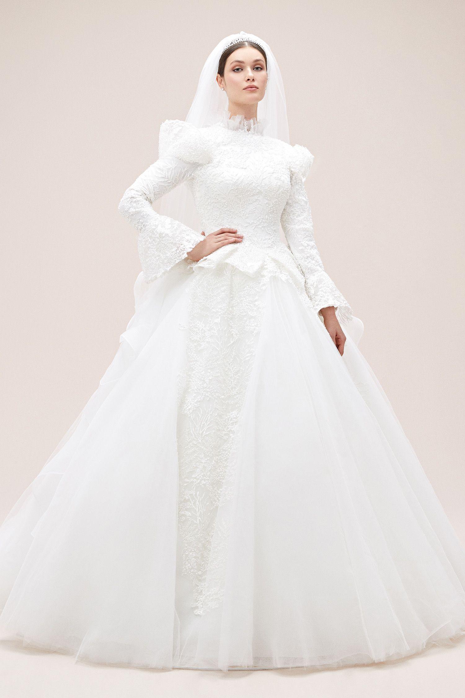 Dantel Islemeli Uzun Kollu Belden Oturtmali Balo Tipi Tesettur Gelinlik 2020 The Dress Gelinlik Resmi Elbise