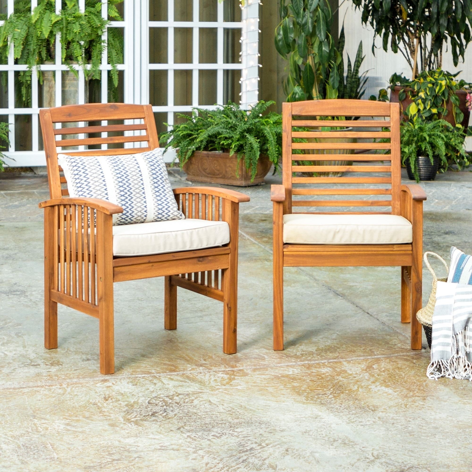 Havenside Home Surfside Acacia Wood Patio Chairs Set Of 2 Outdoor Furniture Plans Wood Patio Furniture Wood Patio Chairs