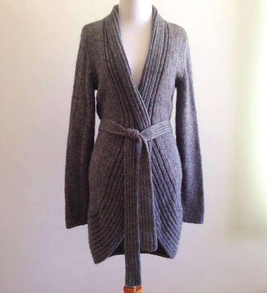 Elie Tahari Belted Cardigan Sweater Women's Dark Gray Size Small ...