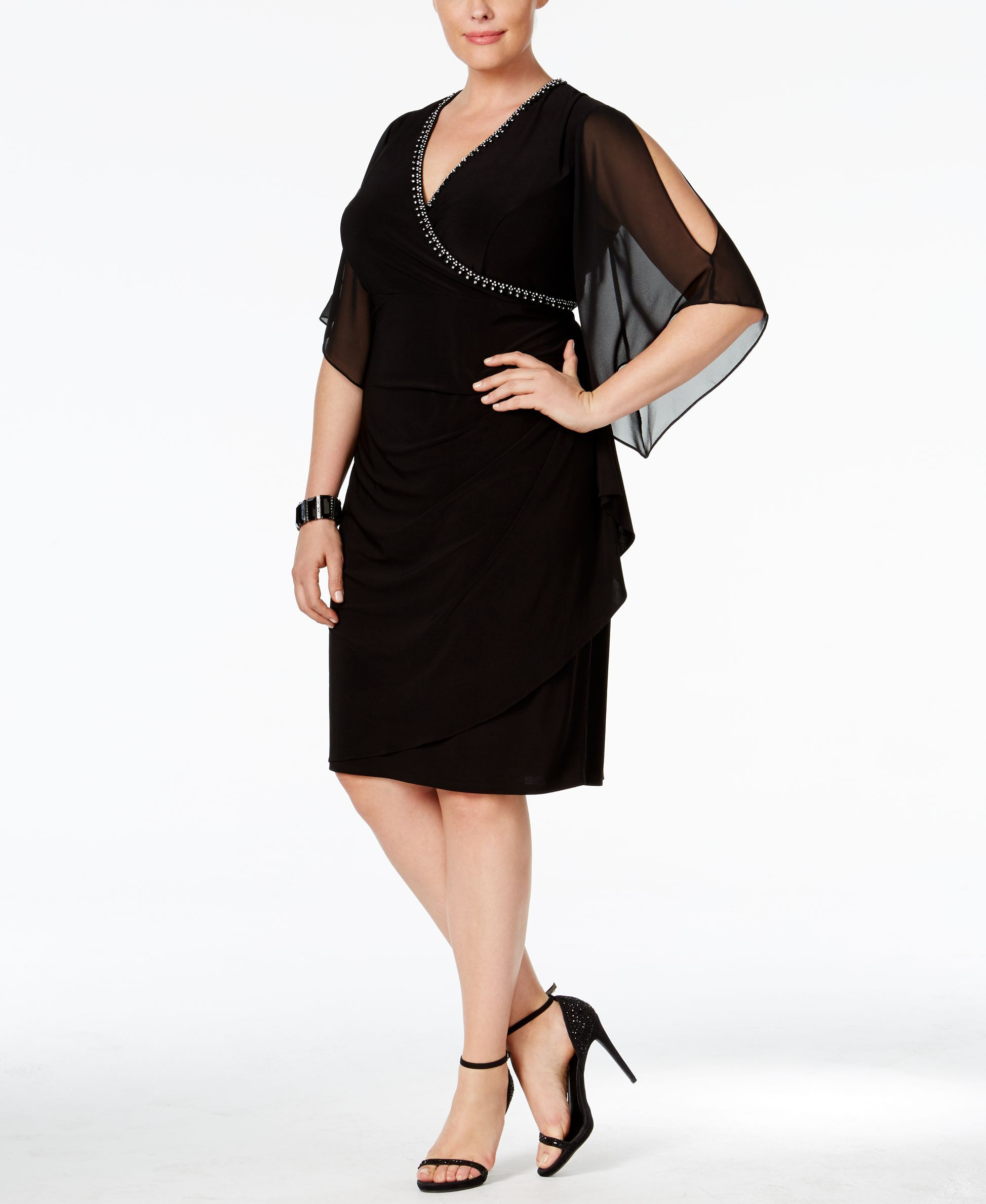 Msk Plus Size Embellished Surplice A Line Dress Products