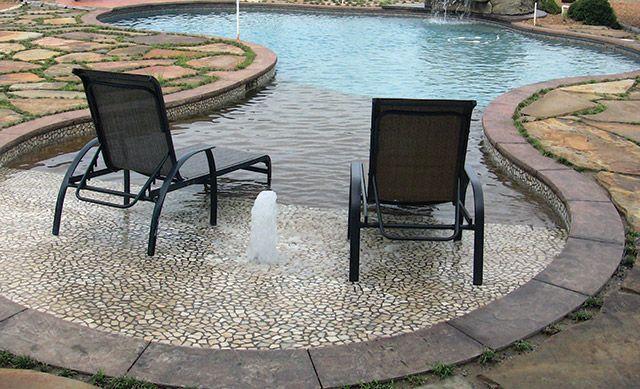 This Is A Freeform 25 X 50 Gunite Beach Entrance Pool With