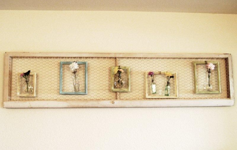 Simple Spring Framed Vases - | Chicken wire, Repurposed doors and Craft