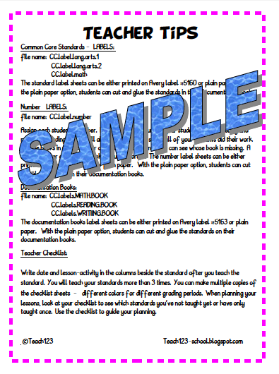 Teach123: Common Core Standards - Documentation Kit