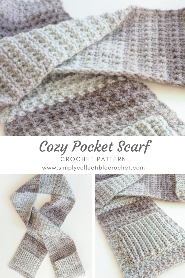 Crochet Pattern - Cozy Pocket Scarf: I think this scarf being grey ...