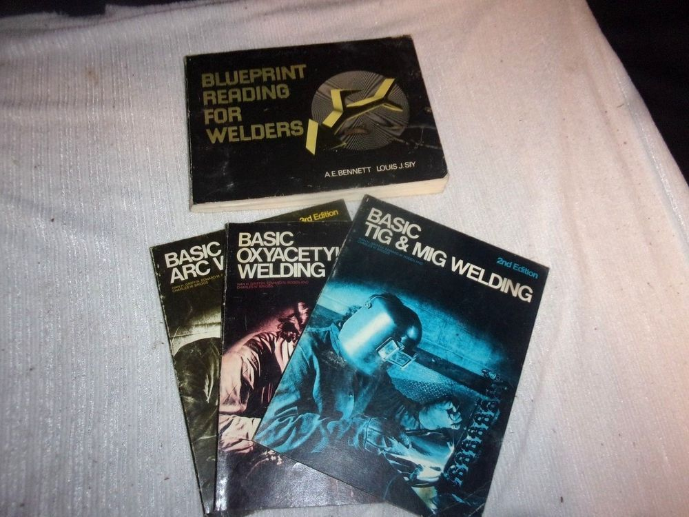 Lot of (4) 1970s Vintage Welding Books Arc, Tig \ Mig, Oxyacetylene - new blueprint book for welders