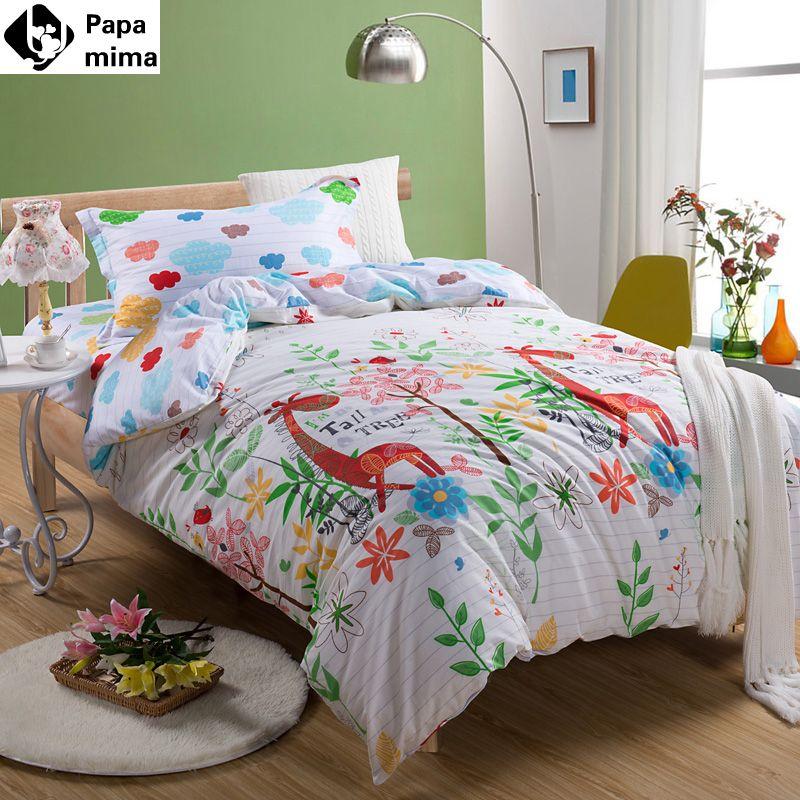 Bedding Set 3pcs Cotton Duvet Cover Pillowcase Bedsheet Giraffe Pattern  Cartoon Kids Twin Size Bed Sheet Linen Quilt Bedclothes //Price: $42.93 U0026  FREE ...