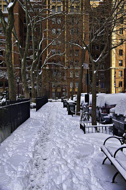 snowy street Snowy street in Manhattan