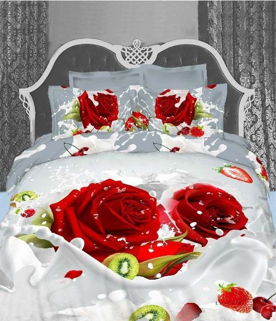 Unique Wedding Bedclothes Cotton Red Rose 4pc Bedding Set