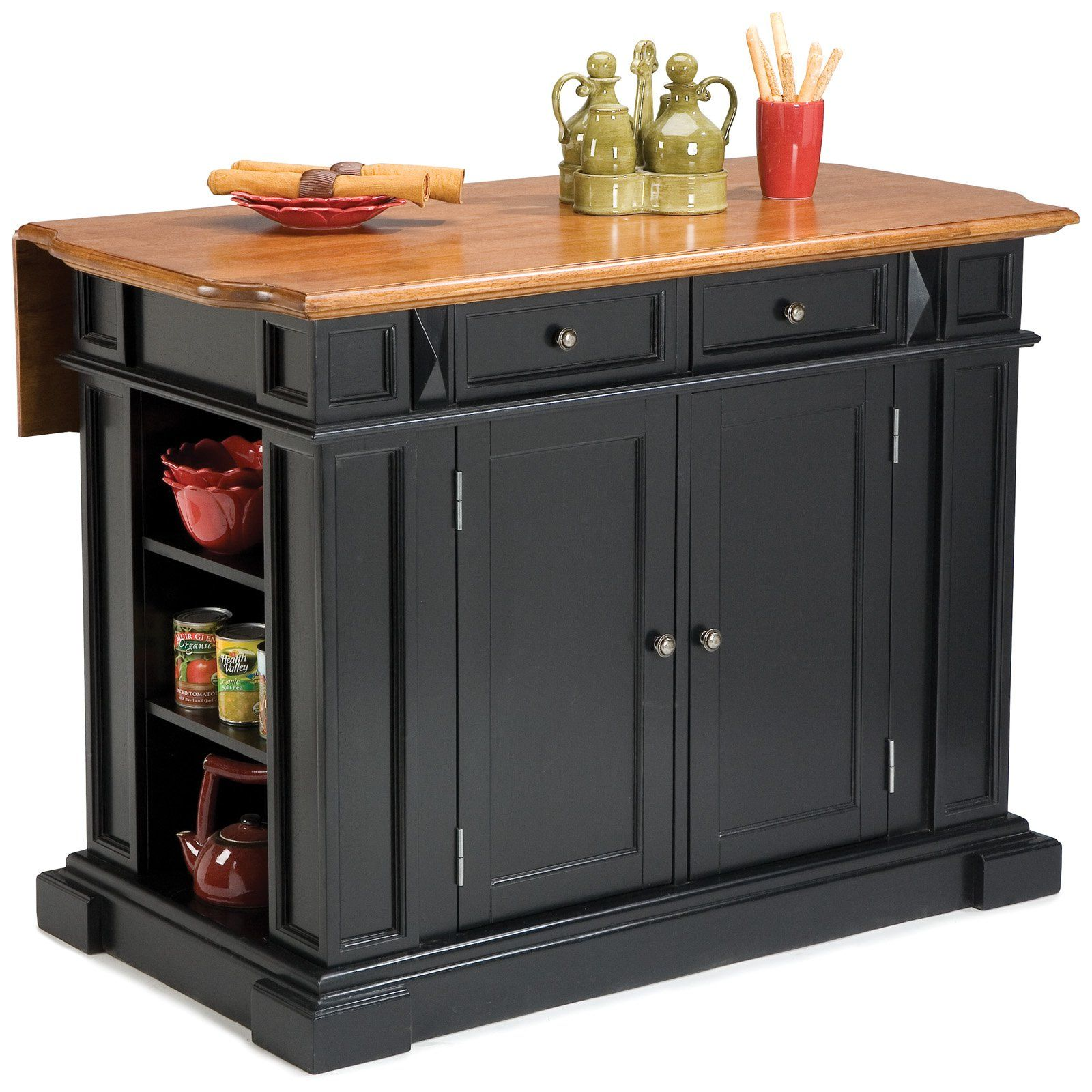 Home Styles Black And Oak Finish Large Kitchen Island   Kitchen Islands And  Carts At Hayneedle