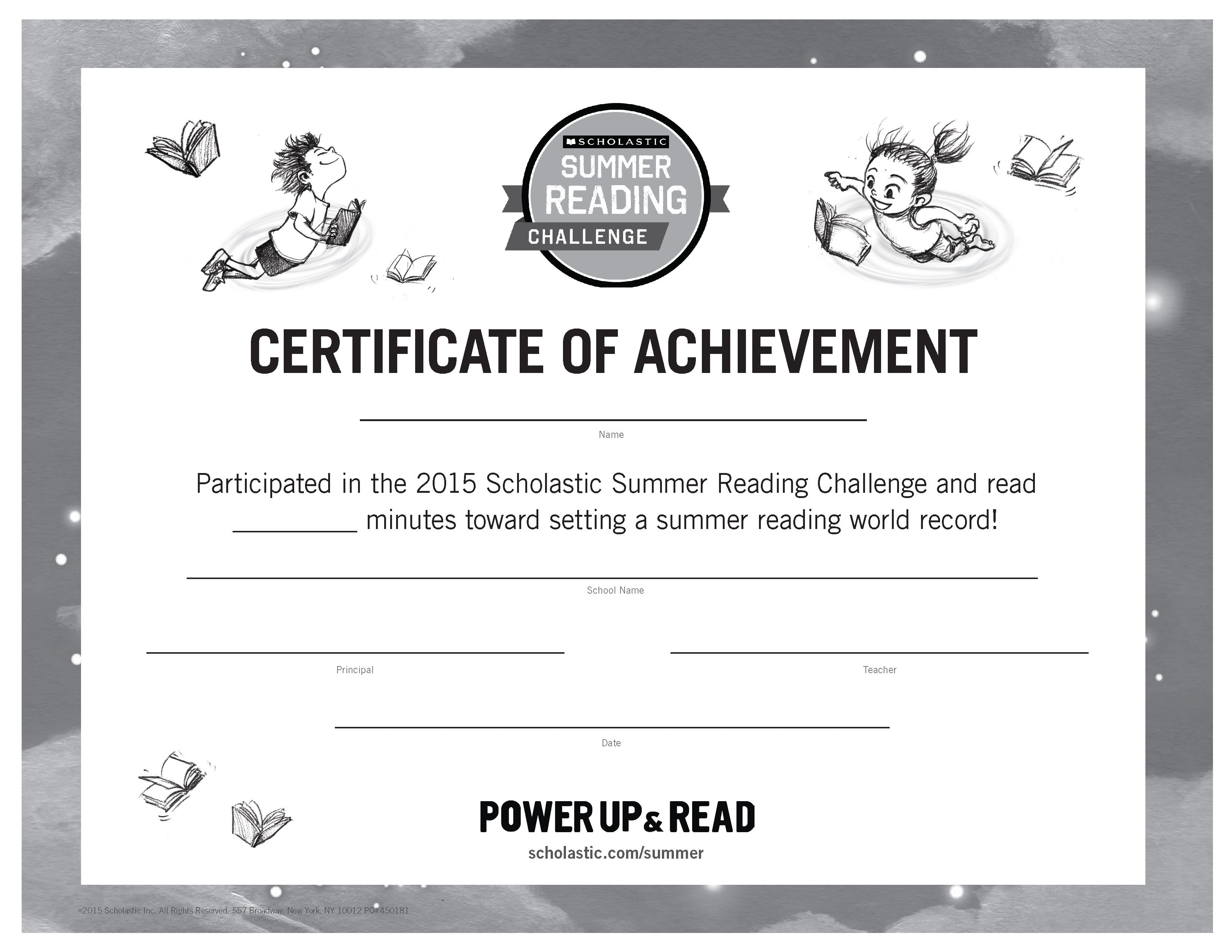 Certificate of achievement summer reading challenge 2015 at the certificate of achievement summer reading challenge 2015 at the end of the summer 1betcityfo Choice Image