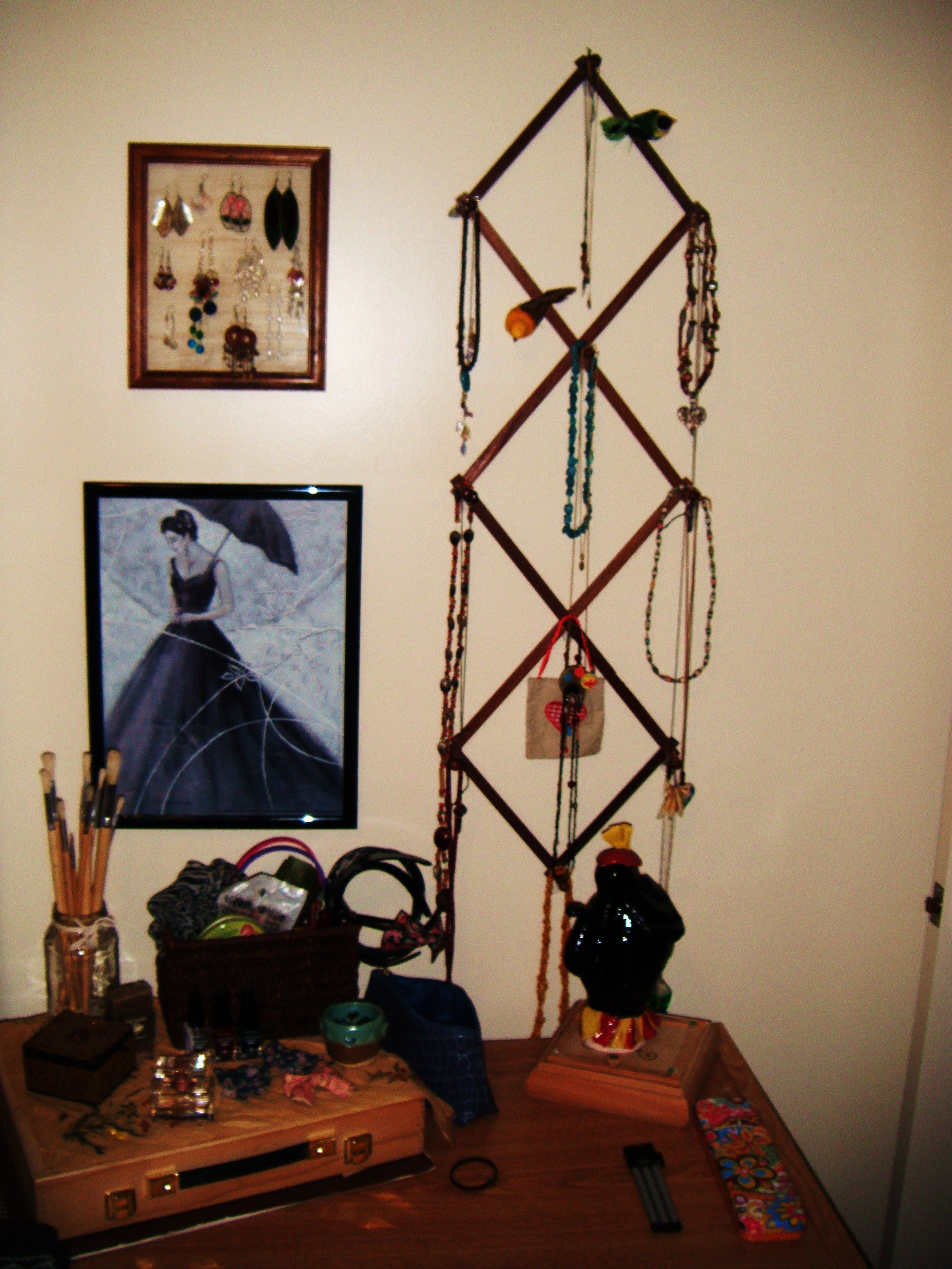 Fun way to hang necklaces and earrings.