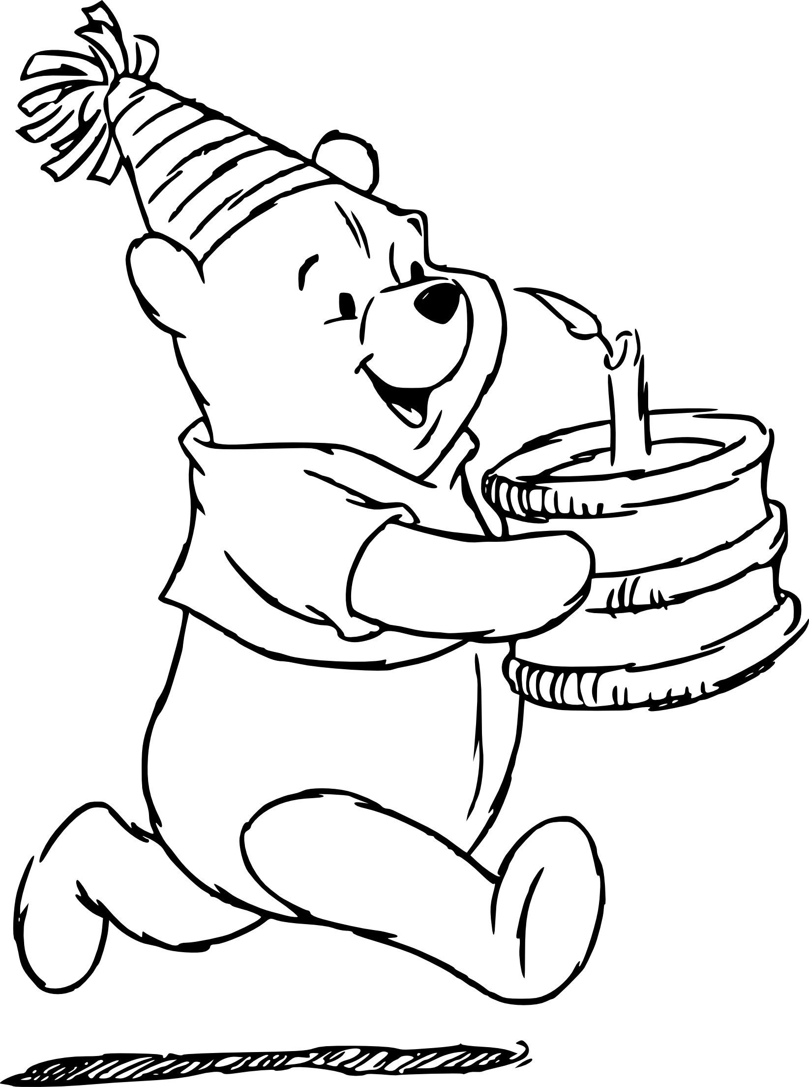 Dessin Gateau D Anniversaire Simple New Coloriage Winnie L Ourson