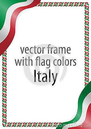 Frame And Border Of Ribbon With The Colors Of The Italy Flag