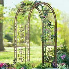 Garden Metal Arch Arbor 84 Pathway Trellis Wedding Decor Wrought Iron Bronze