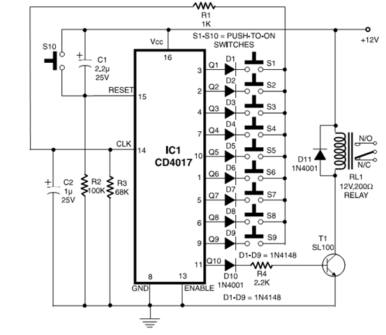 Simple Electronic Code Lock Circuit Diagram ECE