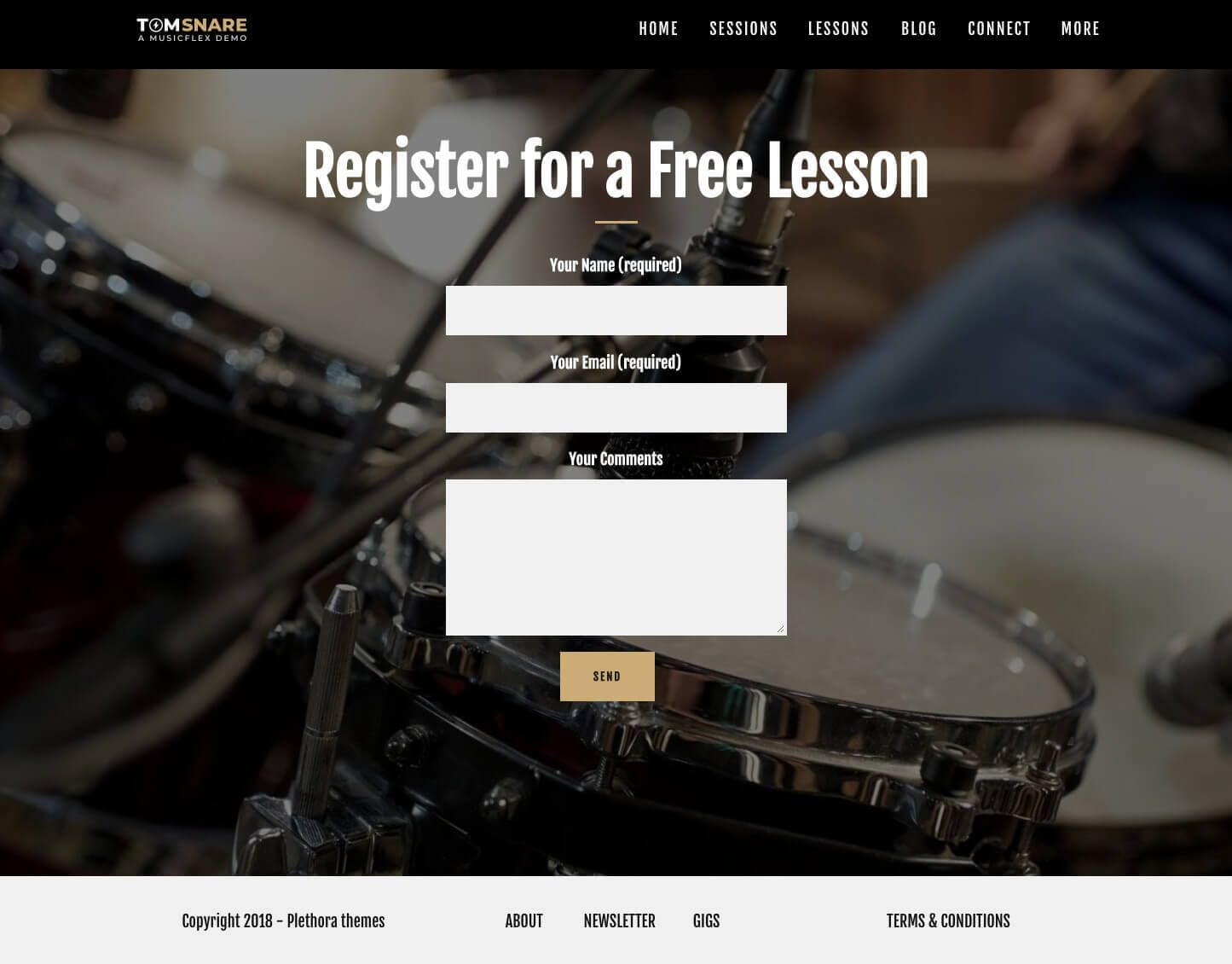 Musicflex Premium Wordpress Theme For The Music Industry This Is Drummer Artist One Of The Available Demos Current Page Lesson Drummer Music Industry Demo