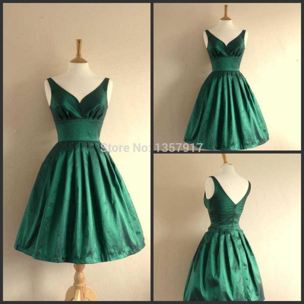 A Linha V Neck Verde Esmeralda Tafetá Curto Vestido
