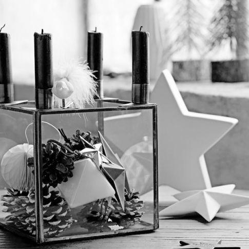4er kerzenhalter glaskubus schwarz weihnachten modern. Black Bedroom Furniture Sets. Home Design Ideas