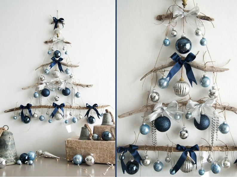Drijfhout Kerstboom Blauwe En Zilveren Kerst Wandversiering Handgemaakte Deco Driftwood Christmas Tree Holiday Wall Decor Tree Wall