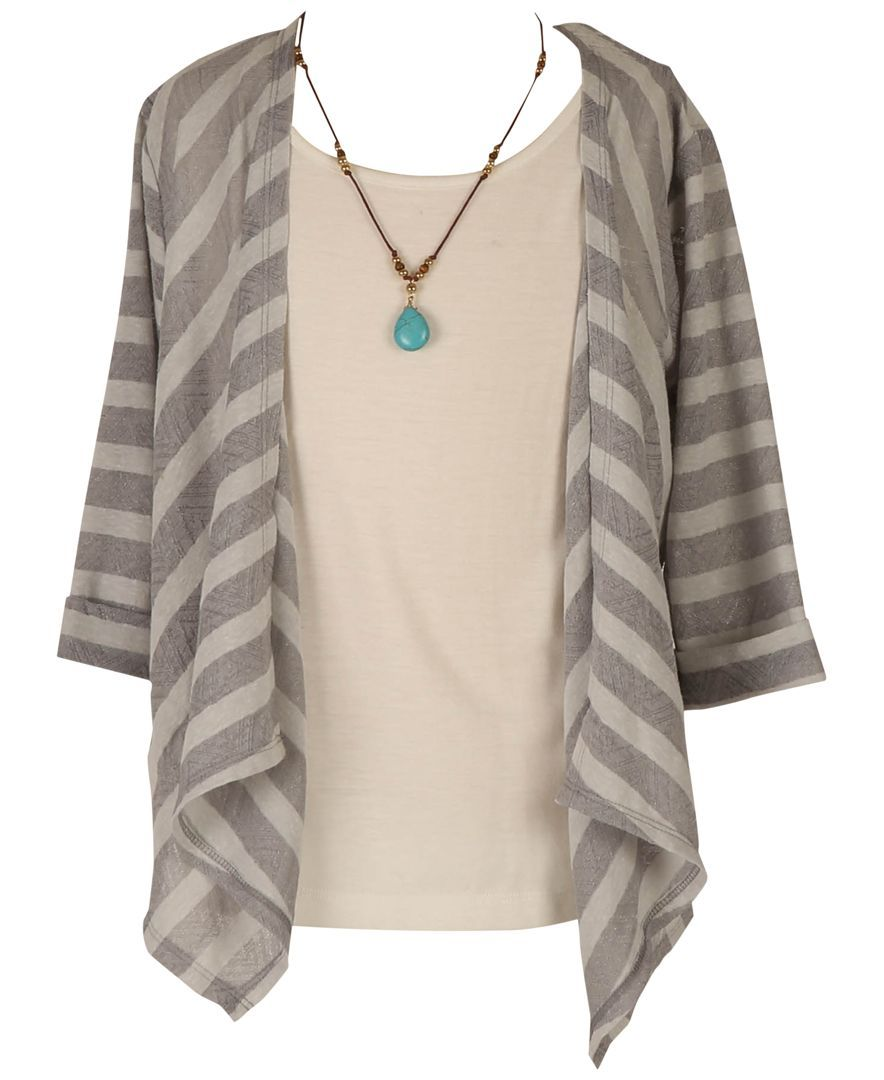 Speechless Girls' 2-Piece Drape-Front Sweater & Camisole Set with Necklace