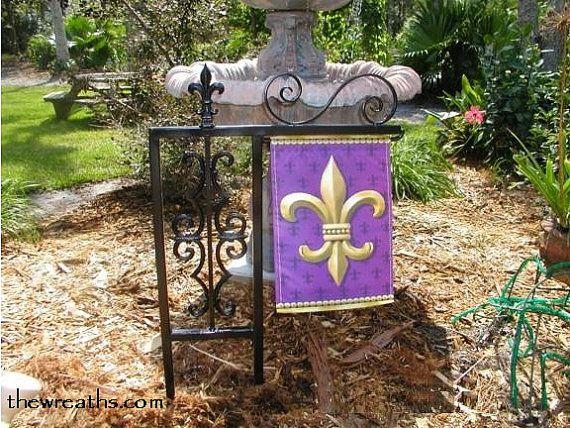 Superb Flag Holder Garden Flag Holder Fleur De Lis Flag By Thewreaths, $69.95