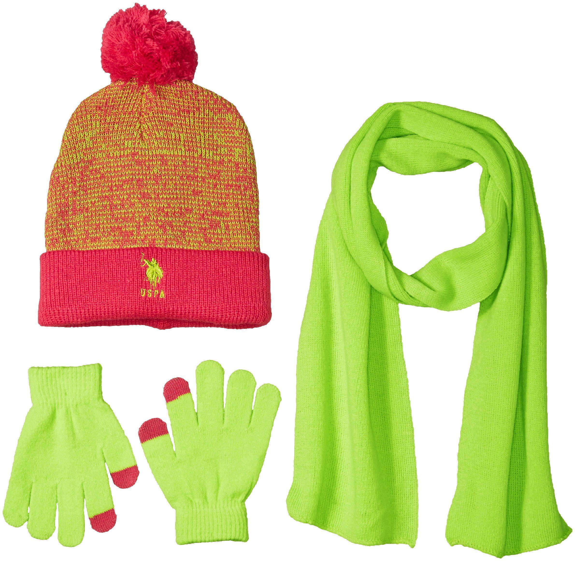 e39adbb292c ovo beanie heather grey  u.s. polo assn. big girls marled cuffed beanie  scarf and tech touch gloves