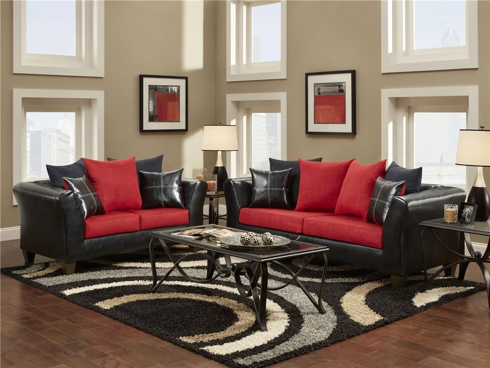 Cardinal Red And Black Living Room Cardinal Red And Black Sofa And Loveseat  By Delta Furniture