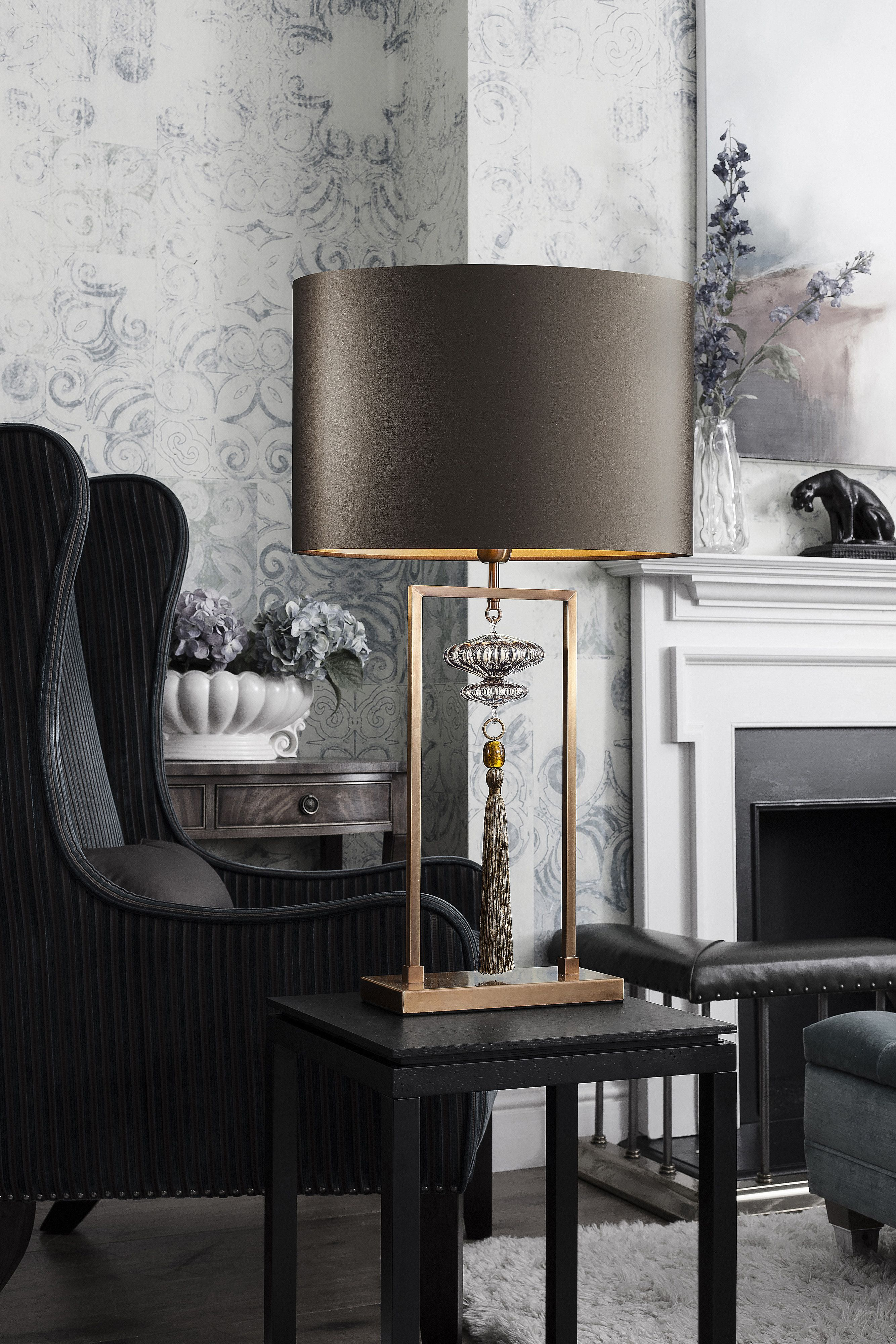Constance Antique Brass Table Lamp Bead colours on the ...
