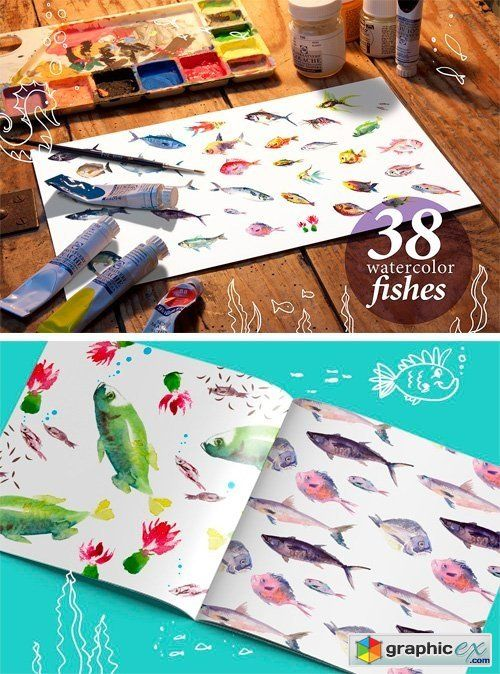 38 Watercolor Fishes  stock images