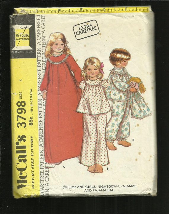 Vintage 1973 McCalls 3798 Round Yoke Puff Sleeve Nightgown & Pajamas for Girls  Size 6
