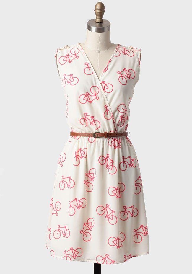 Joy Ride Belted Bicycle Print Dress