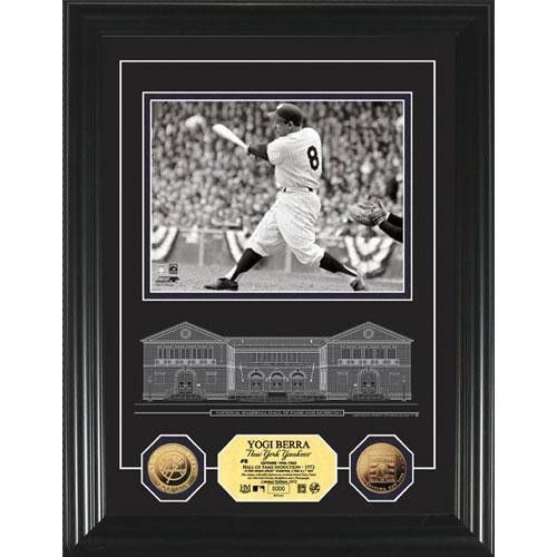 Yogi Berra HOF Archival Etched Glass 24KT Gold Coin Photo Mint