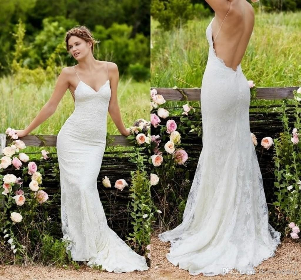 698a5dcb87d Cheap 2017 Spring Summer Bohemian Wedding Dresses Sexy Mermaid Spaghetti  Straps Floor Length Backless Lace Bridal Gowns As Low As  120.43
