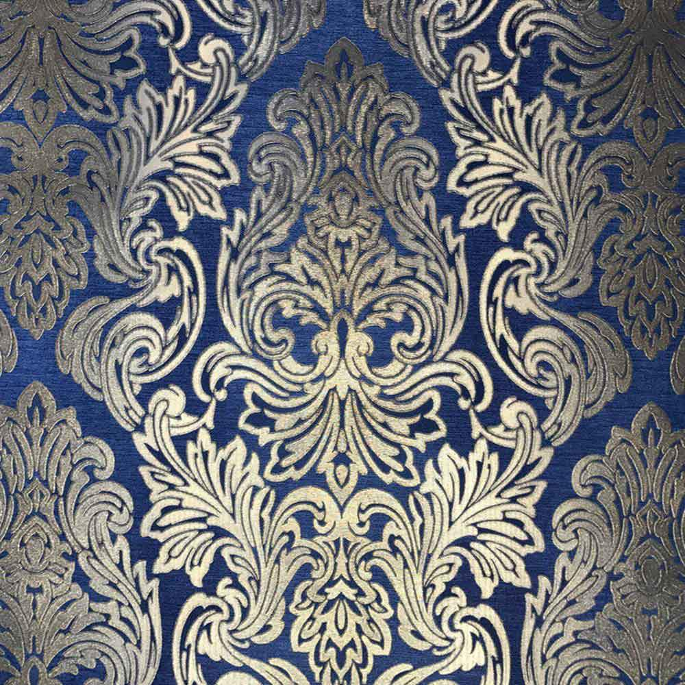 L843 03 Royal Blue Gold Damask Wallpaper Roll