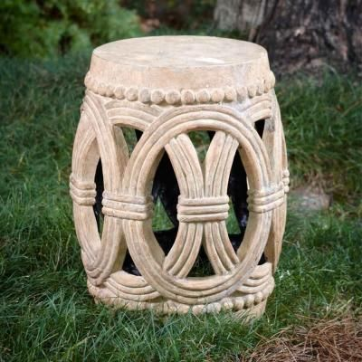 H Cast Stone Garden Stool In Ivory Finish, $59.98
