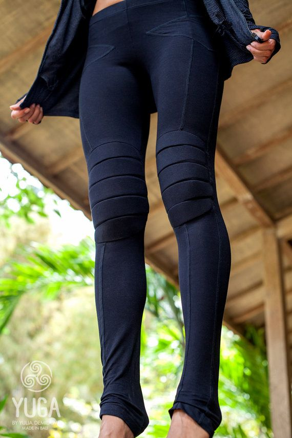 5cd4a4d78ab9 Tight-fitting pants for yoga with protective knee pads. Yoga pants - black  colour made from organic bamboo. Yoga pants - gray colour made from rayon.
